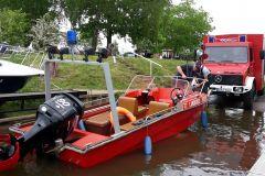 An der Slipanlage beim Motorbootverein in Höltenwerder kann das Boot bei Einsätzen auf Aller und Weser im Bereich Verden am besten zu Wasser gelassen werden.
