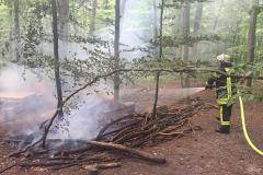 Der brennende Holzstapel im Stadtwald konnte durch die Feuerwehr schnell gelöscht werden.
