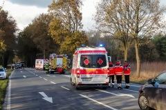 Einsatzfahrzeug vor Ort, während der Rettungsarbeiten blieb die Landstraße voll gesperrt.
