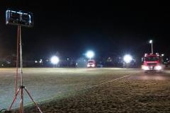 Die Feuerwehr leuchtete den Warwickplatz für die Hubschrauberlandung aus.
