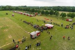 Luftbild von der Drehleiter auf den Wettbewerbsplatz.