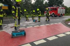Ausbringen von Ölbindemittel an der Hamburger Straße/B215.