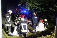 Auf einem Parktplatz wurde eine Verletztensammelstelle eingerichtet. (KFV Verden/Dathe)