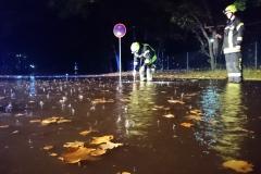 Überflutete Straße am Saumurplatz.