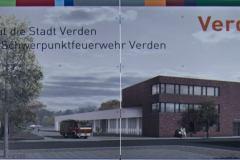 Bauschild für das neue Feuerwehrhaus an der Lindhooper Straße.