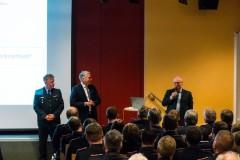 v.I. Stadtbrandmeister Peter Schmidt, Bürgermeister Lutz Brockmann und Steffen Lutter (ORGAKOM) beantworteten in einer offenen Diskussionsrunde Fragen und Anregungen zum vorgestellten Entwurf.