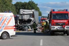 LKW-Unfall am 29. September 2015 auf der BAB 27.