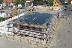 27.04.2018 - Fortschritt der Bauarbeiten, Draufsicht von der Drehleiter aus.