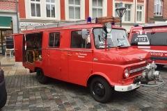 Das Dauelser LF 8 Opel Blitz ausgestellt in der Lüneburger Innenstadt.