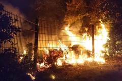 Beim Eintreffen der ersten Einsatzkräfte schlagen die Flammen bereits in umliegendes Buschwerk und einen Baum.