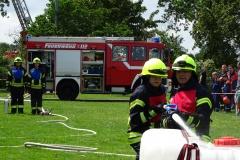 Leistungsnachweis der Einsatzabteilungen bei einer Brandbekämpfung.