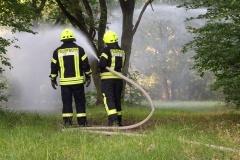 Bekämpfung des angenommenen Waldbrandes mit Strahlrohren.