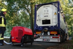Wasserentnahme aus dem Tankwagen.
