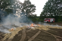 Der Brand einer Ballenpresse löste am Donnerstagabend einen größeren Flächenbrand aus.