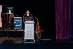 Ortsbrandmeister Tobias Burmeister blickte auf die wechselhafte 150-jährige Geschichte der Verdener Ortsfeuerwehr zurück.