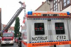 Einsatz der Drehleiter in der Oberen Straße.