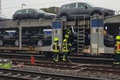 Brandbekämpfung auf dem Zug.