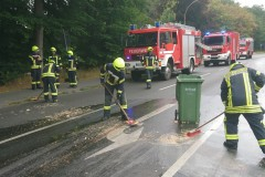 Feuerwehrkräfte entfernen die Speisereste von der Fahrbahn.