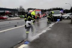 Durch die Feuerwehr wurden auslaufende Betriebsstoffe aufgenommen.