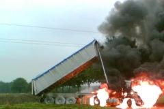 Brand eines LKW unter einer Hochspannungsleitung 2005